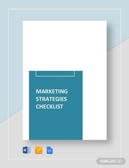 marketing strategies checklst template