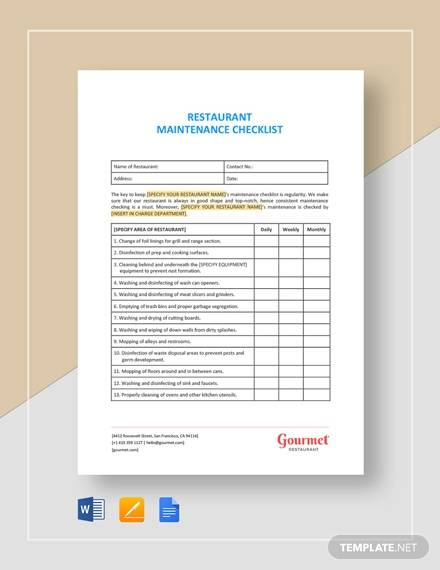 restaurant maintenance checklist