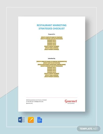 restaurant marketing strategies checklist
