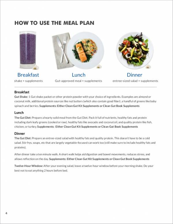21 day meal planner sample