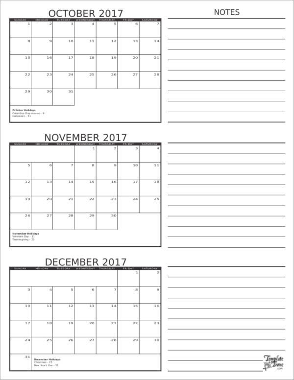 3 months planner template