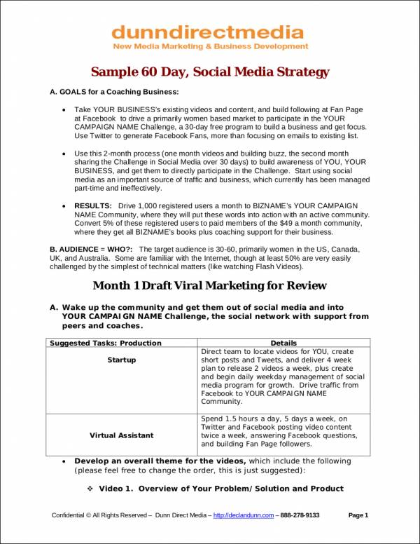 60 day social media strategy sample
