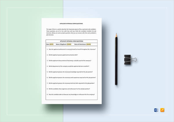 applicant-appraisal-form-questions-template