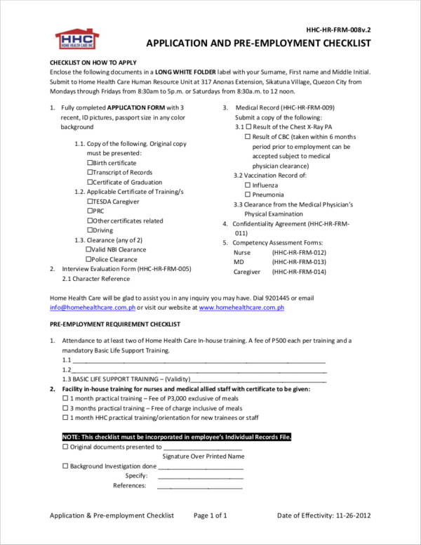 application and pre employment checklist