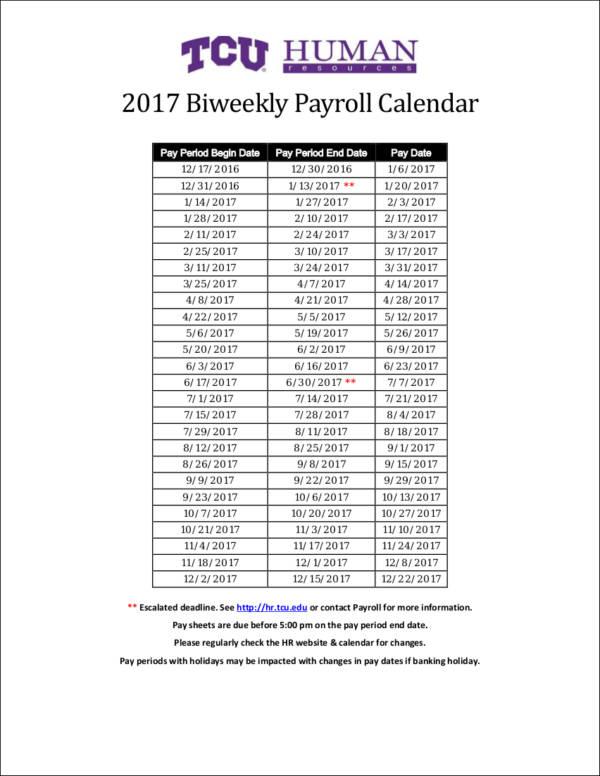 biweekly payroll calendar