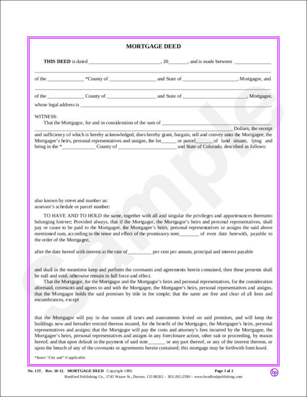 blank mortgage deed template