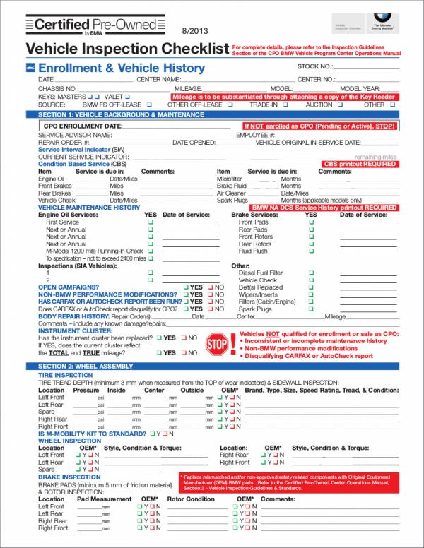 Used Vehicle Inspection Form Template. Vehicle Inspection .