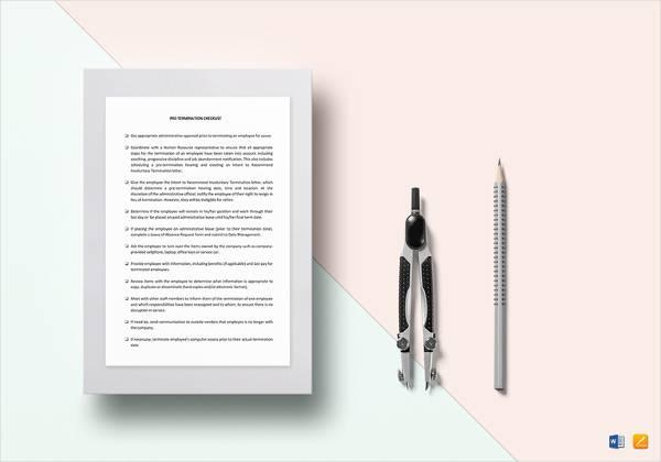 checklist pre termination template