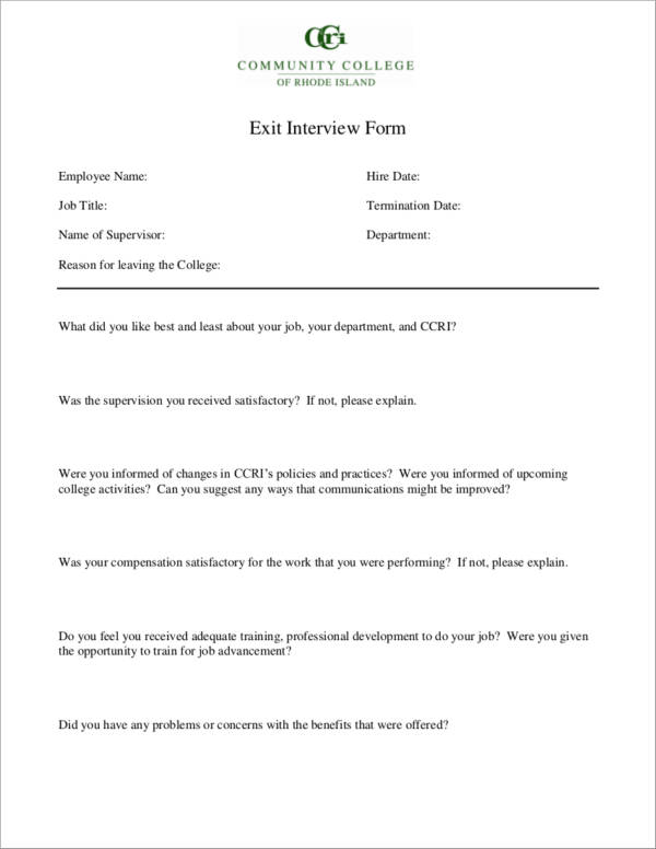 Sample Exit Interview Format  BesikEightyCo