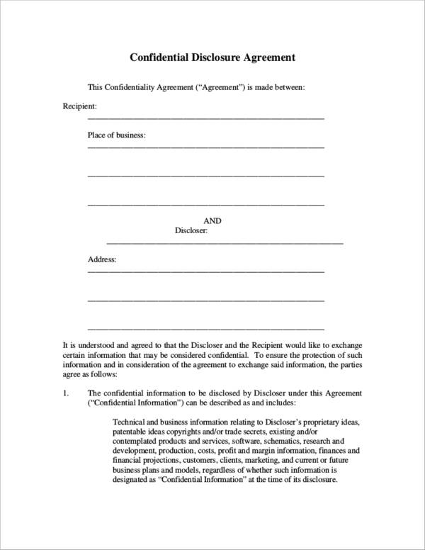 confidential disclosure agreement sample for business