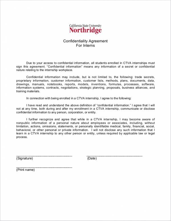 15 Confidentiality Agreement Samples Templates Sample Templates