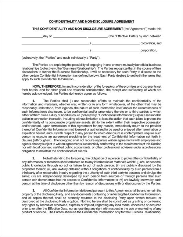 confidentiality and non disclosure agreement sample