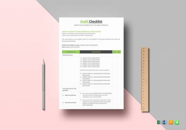 customizable audit checklist template