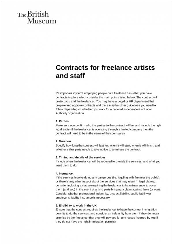 Freelance Design Contract Samples  Templates  Word Pdf