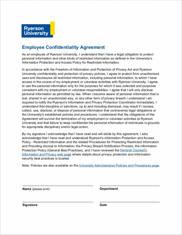 employee confidentiality agreement sample