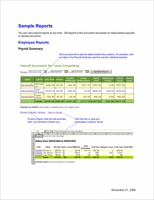 employee payroll report sample
