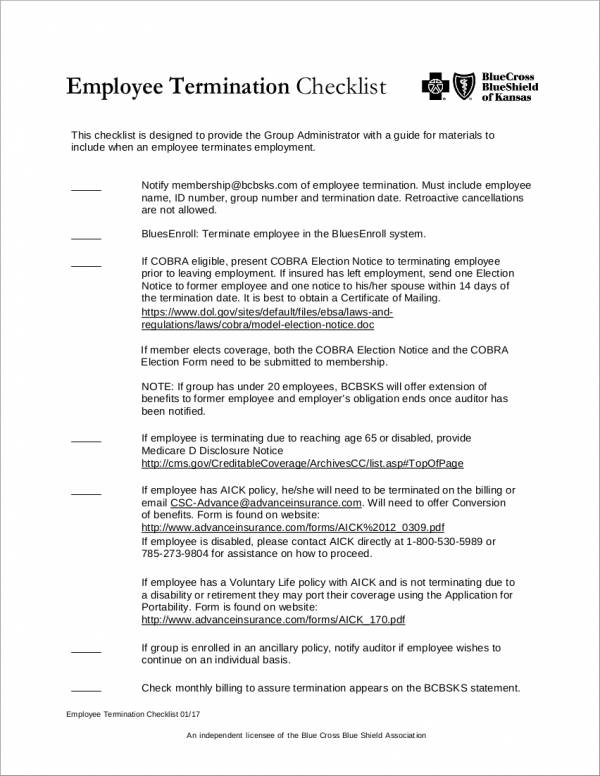 employee termination checklist for group administrator