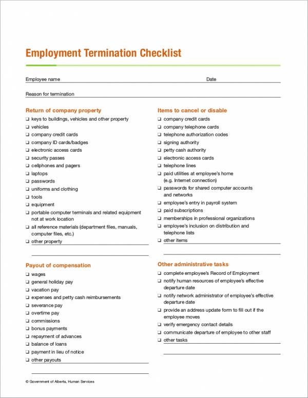 Employment-Termination-Checklist-Sample Sample Employee Termination Letter Template on for performance, real estate contract, 30-day contract, early probation, no show,