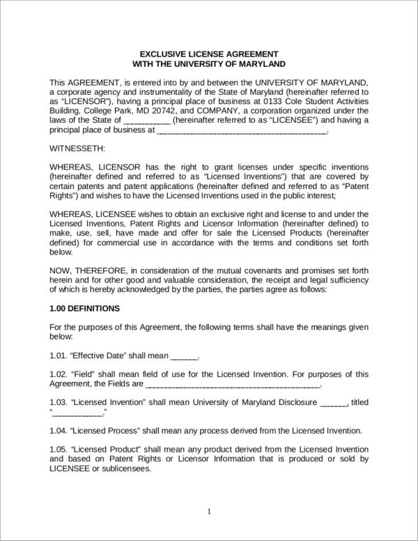 Free 5 Patent License Agreement Samples Templates In Pdf
