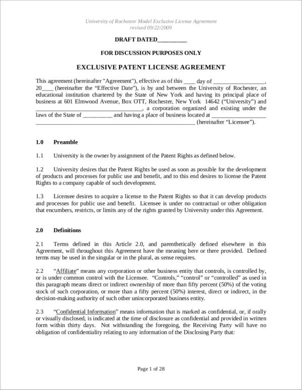 Patent License Agreement Samples  Templates  Pdf