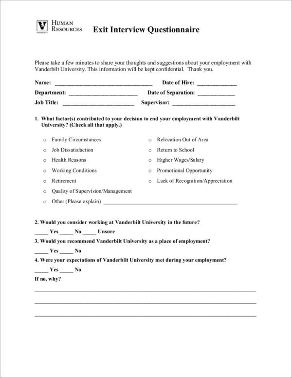 exit interview form with human resources logo