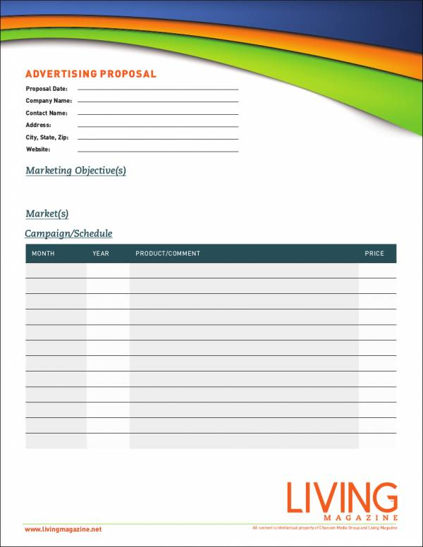 Advertising Proposal Samples  Templates  Word Pdf