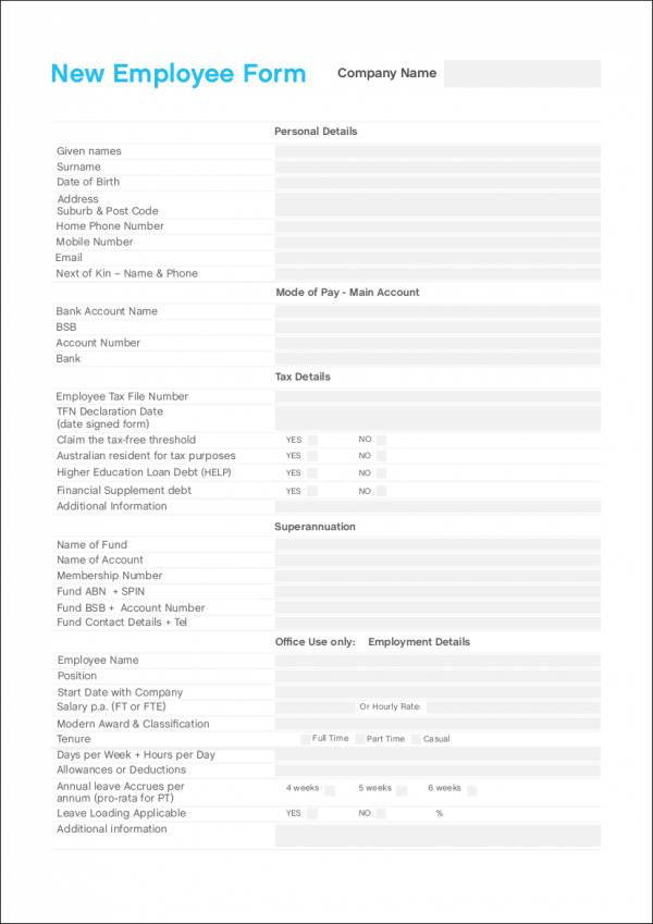 fillable payroll template for new employee