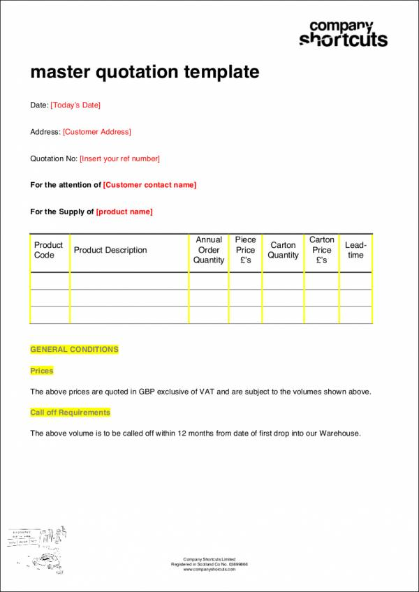 fillable sales quotation template
