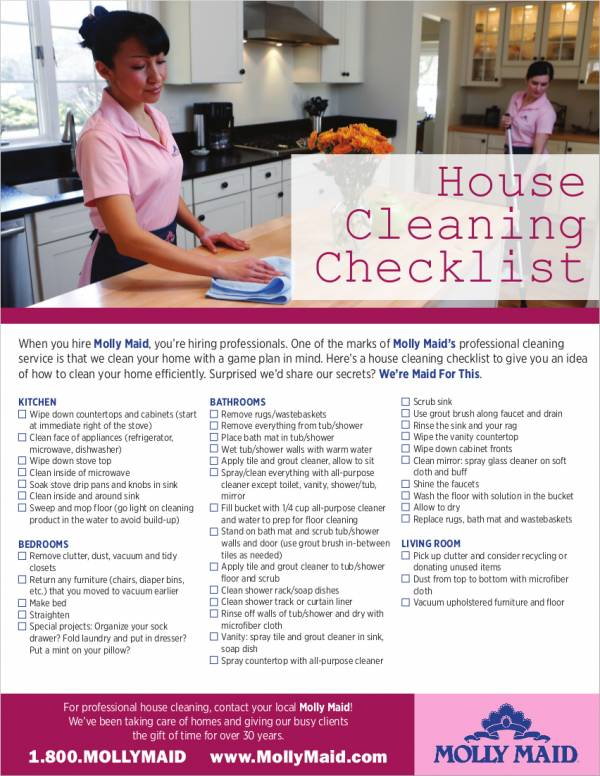 housekeeping checklist example in pdf