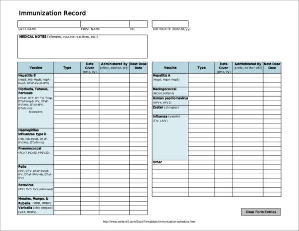 immunization record and schedule sample template