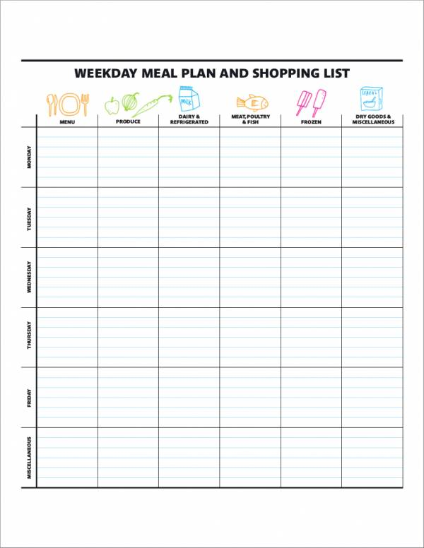 meal planner template with shopping list