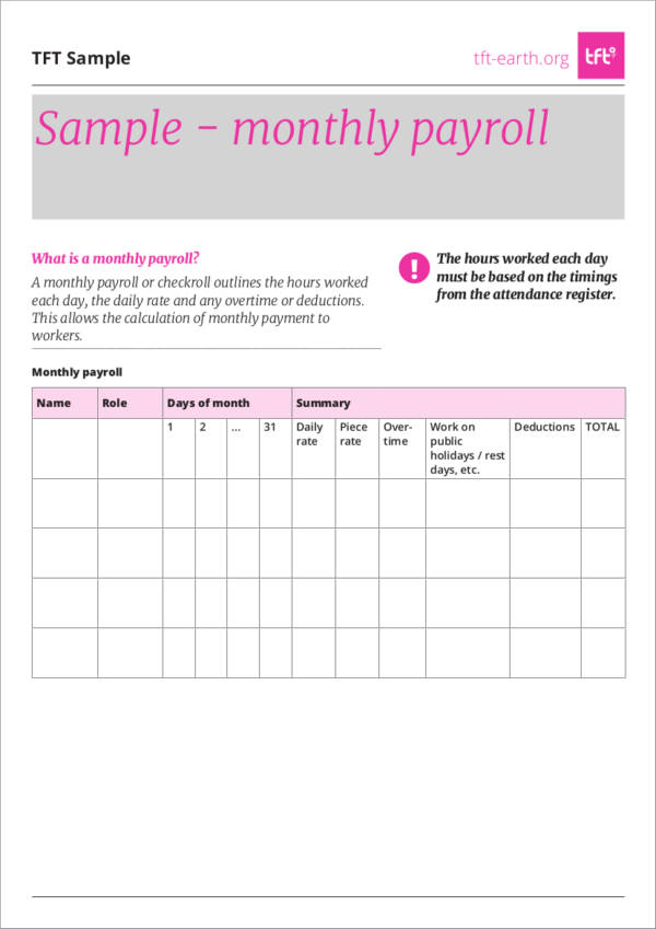 monthly payroll sample