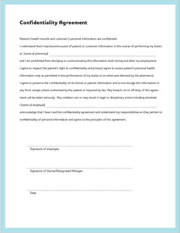 Confidentiality Agreement Samples  Templates  Pdf
