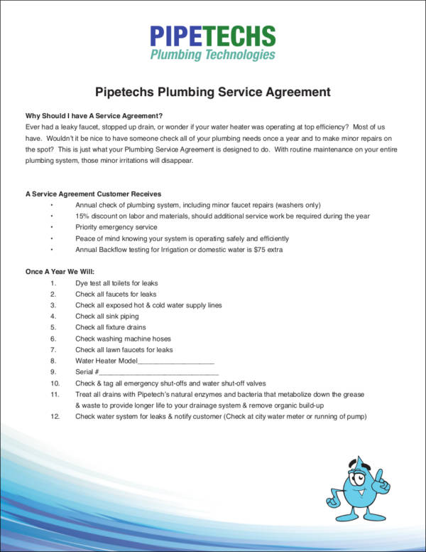 Plumbing Service Agreement Template