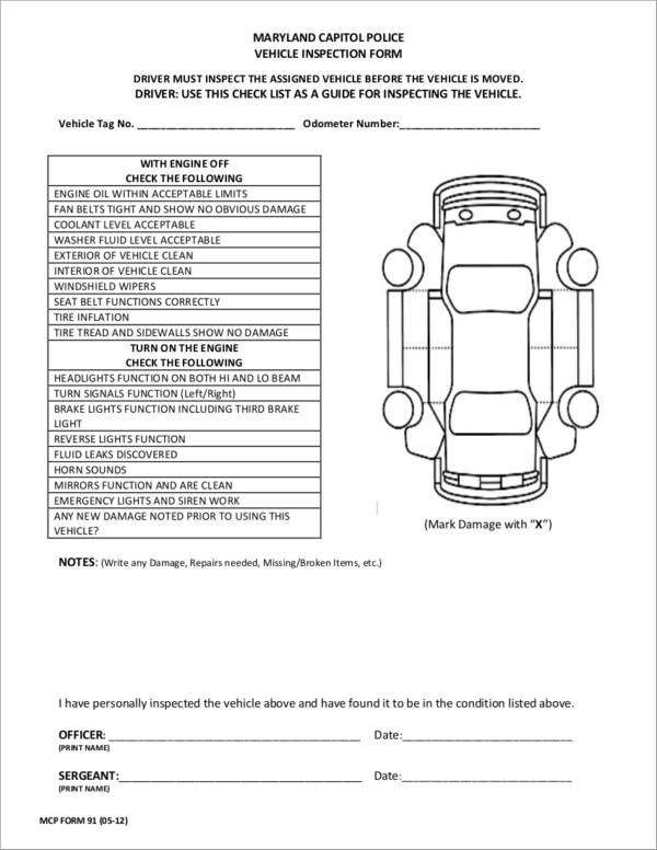 17 vehicle checklist samples templates sample templates for Van checklist template