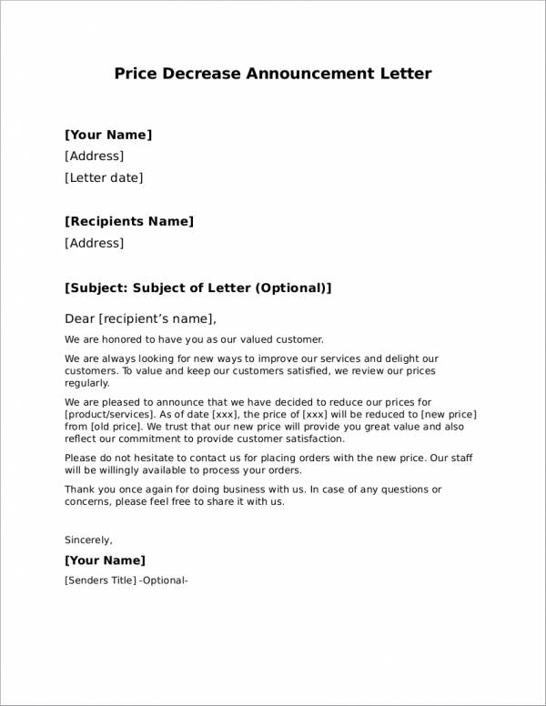 price decrease announcement letter template