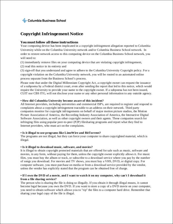 printable copyright infringement notice sample