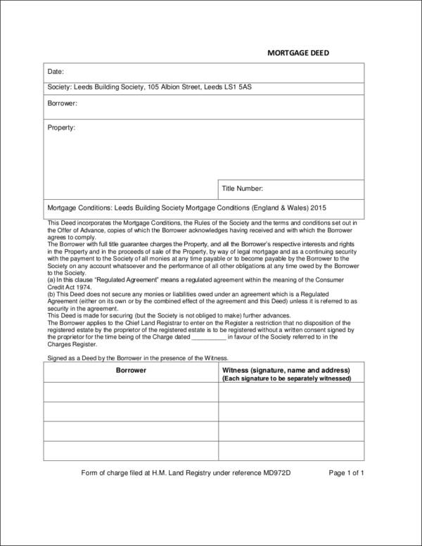 Free 5 Mortgage Deed Samples Templates In Pdf