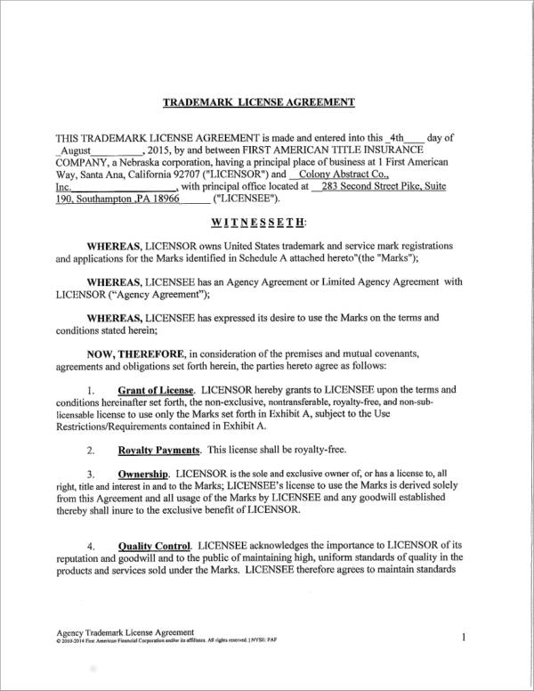 5 trademark license agreement samples templates pdf printable trademark license agreement platinumwayz