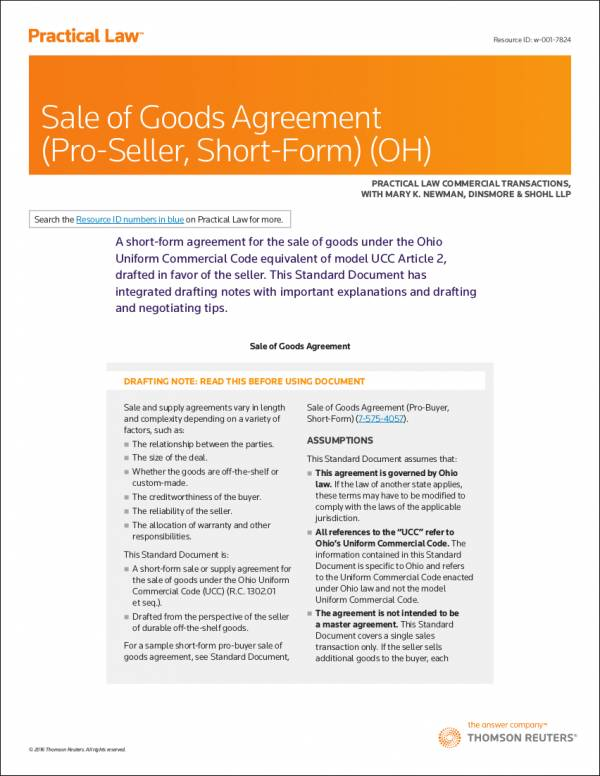 sale of goods agreement sample