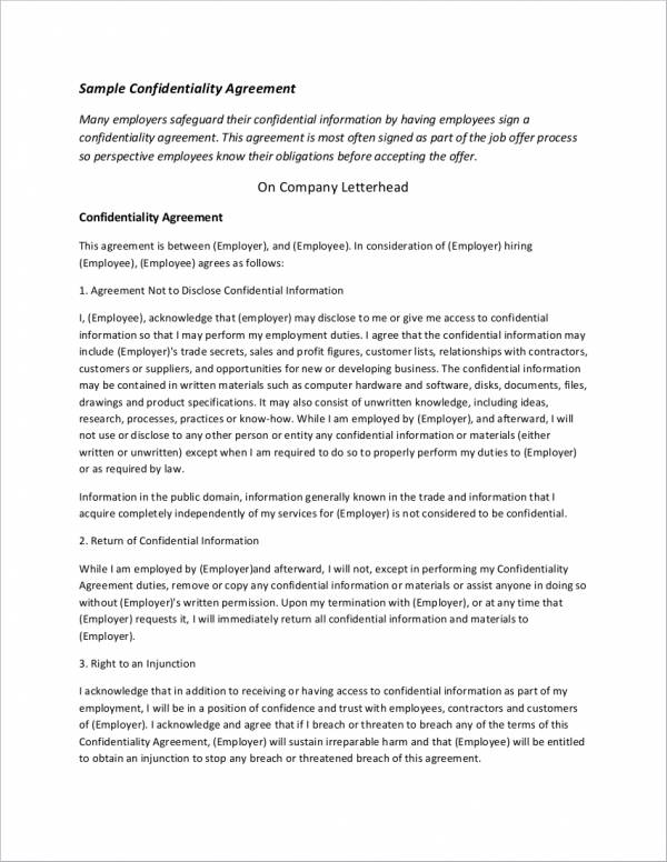 sample confidentiality agreement on company letterhead