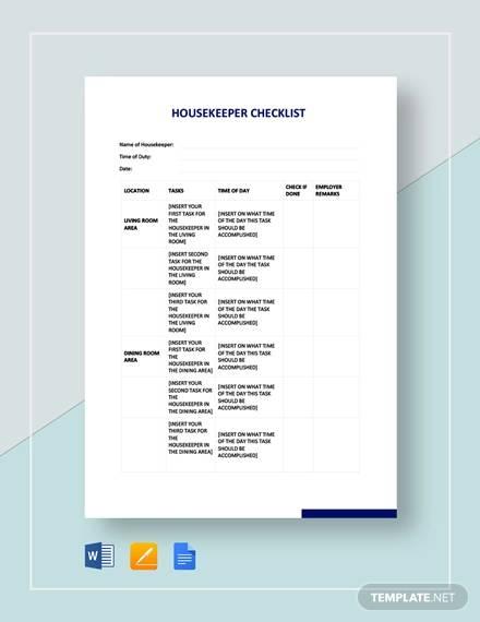 sample housekeeper checklist template