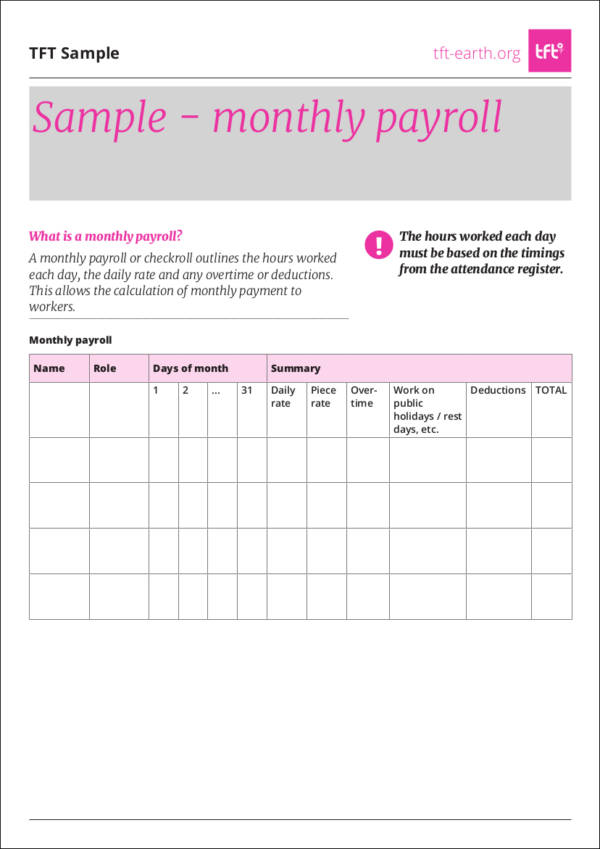 sample monthly payroll template