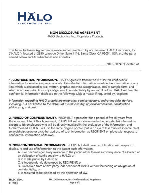sample non disclosure agreement for electronics company