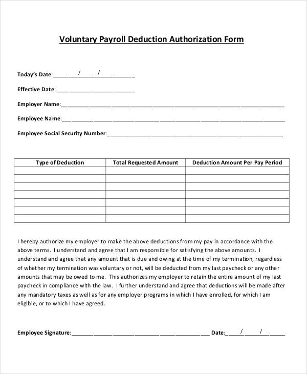 sample payroll for voluntary deduction