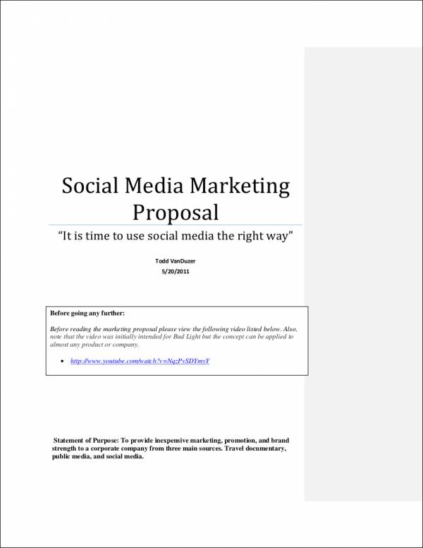 social media rfp template - 5 social media marketing proposal samples templates
