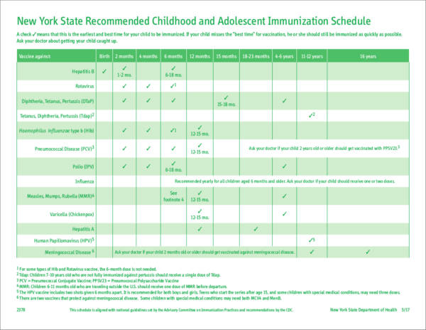 state recommended childhood and adolescent immunization schedule