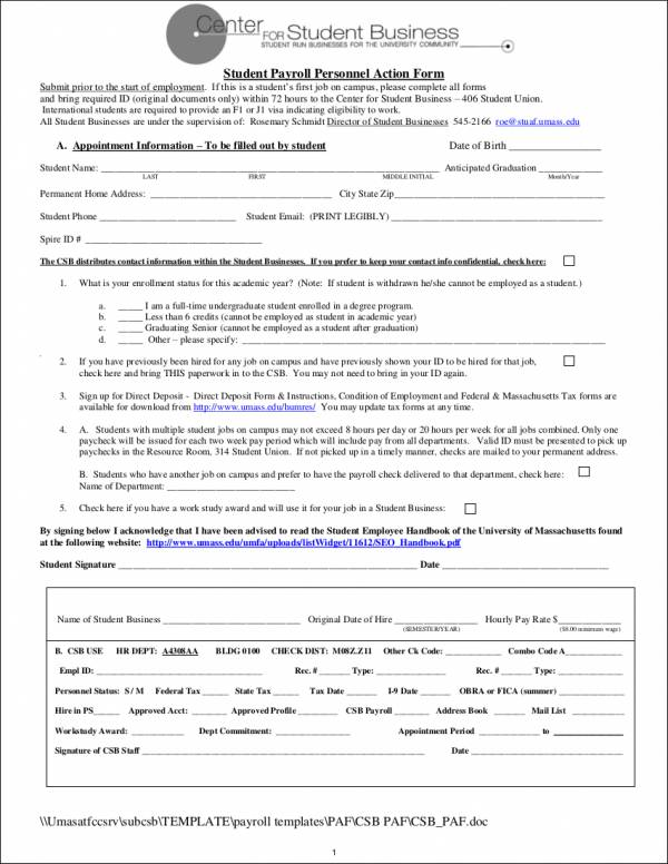 student payroll personnel action form