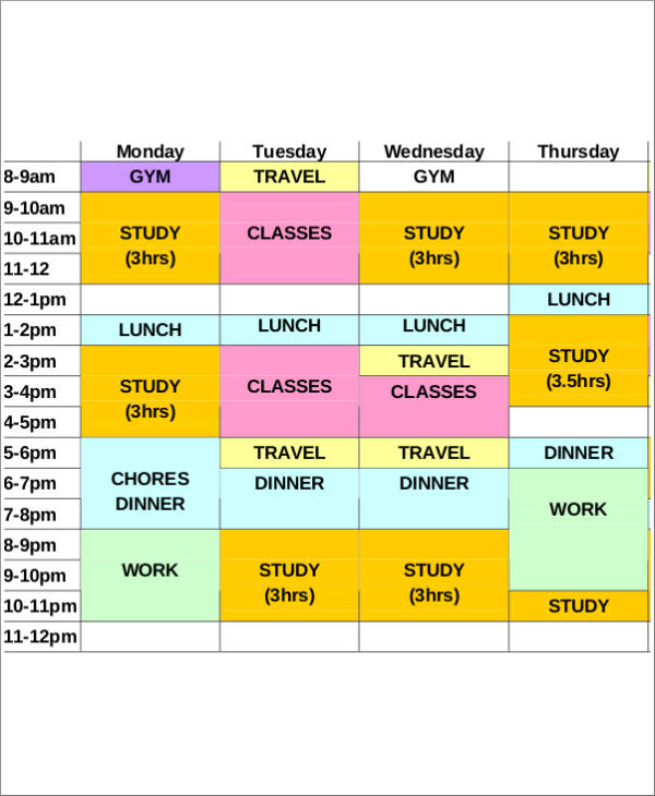 study schedule sample and template