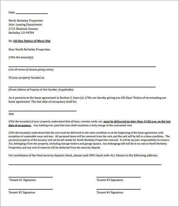 tenancy termination and moving out letter template